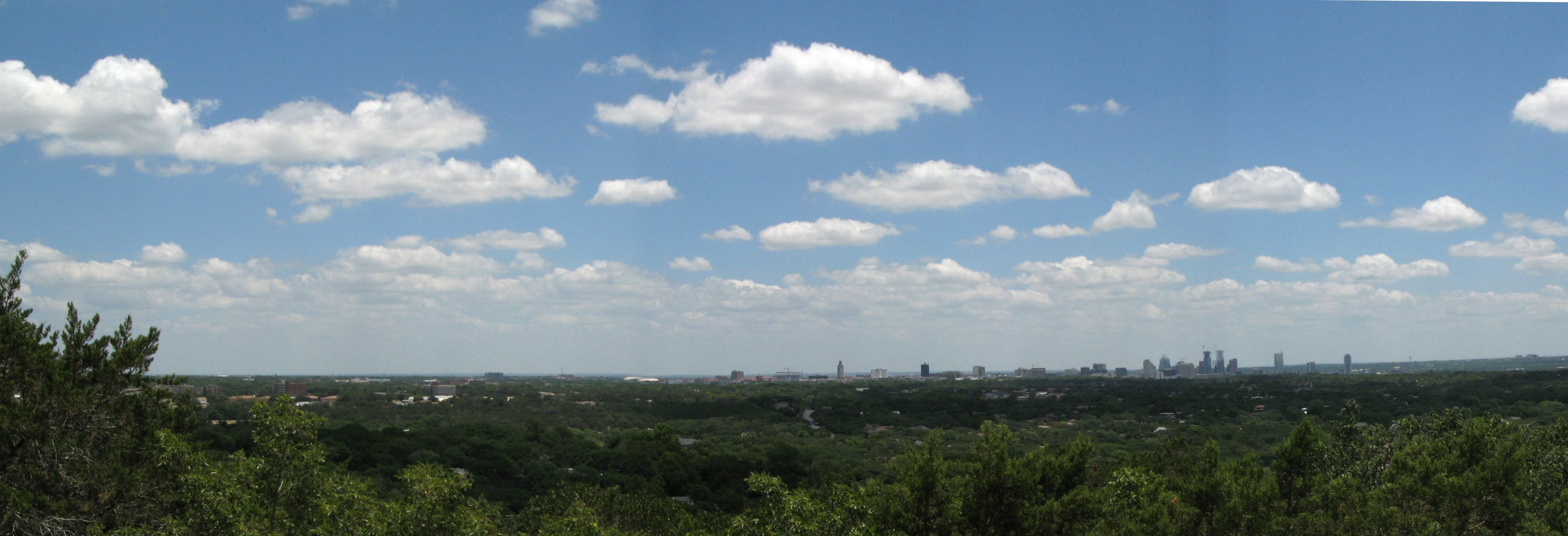 Panoramic view of Austin looking east off Mount Bonnell