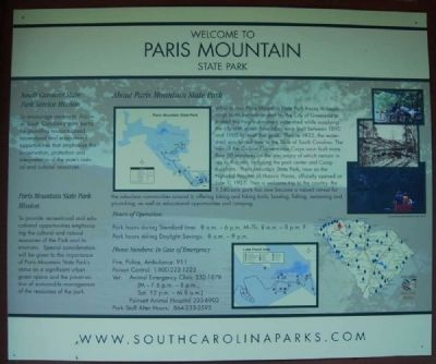 Welcome to Paris Mountain State Park Marker image. Click for full size.