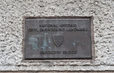 Brooklyn Bridge National Historic Civil Engineering Plaque image. Click for full size.