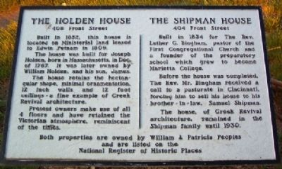 The Holden House / The Shipman House Marker image. Click for full size.