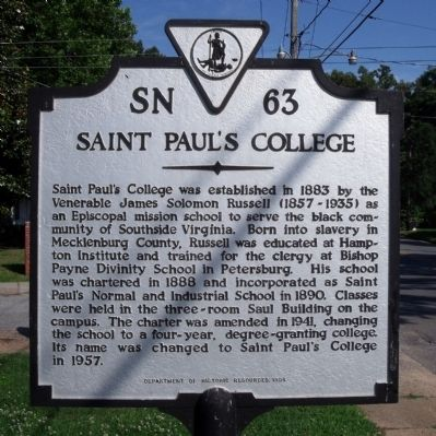 Saint Paul's College Marker image. Click for full size.