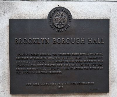 Brooklyn Borough Hall Marker image. Click for full size.