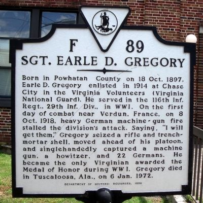 Sgt. Earle D. Gregory Marker image. Click for full size.