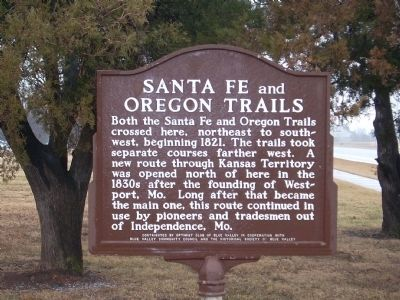 Santa Fe and Oregon Trails Marker image. Click for full size.