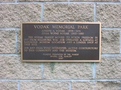 Vodak Memorial Park Marker image. Click for full size.