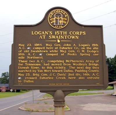 Logan's 15th Corps at Swaintown Marker image. Click for full size.