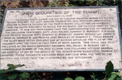 1984 version of Occupation of the Summit of Lookout. Marker image. Click for full size.