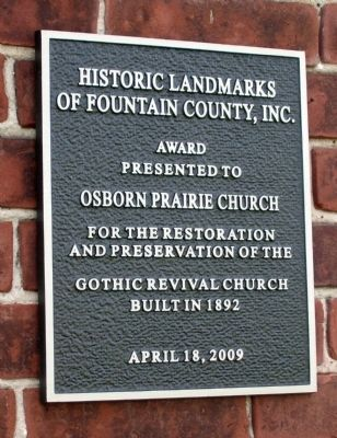Osborn Prairie Church - - Built 1892 Marker image. Click for full size.