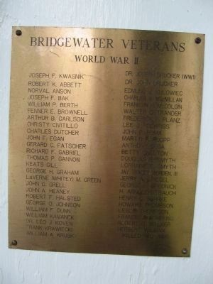 Bridgewater WWII Veterans Marker image. Click for full size.
