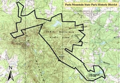 Map of Paris Mountain State Park Historic District image. Click for full size.