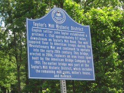 Taylor's Mill Historic District Marker image. Click for full size.