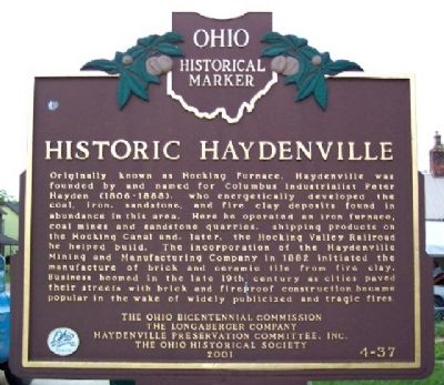 Historic Haydenville Marker (Side A) image. Click for full size.