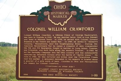 Colonel William Crawford Marker image. Click for full size.