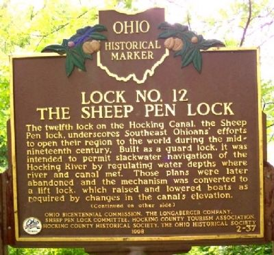 Lock No. 12 The Sheep Pen Lock Marker (Side A) image. Click for full size.