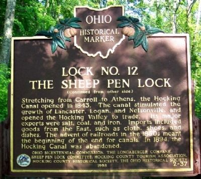Lock No. 12 The Sheep Pen Lock Marker (Side B) image. Click for full size.
