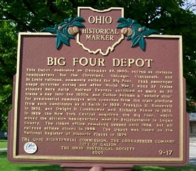 Big Four Depot Marker image. Click for full size.