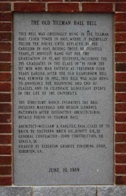 The Old Tillman Hall Bell Marker -<br>West Panel image. Click for full size.