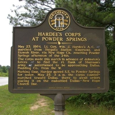 Hardee's Corps at Powder Springs Marker image. Click for full size.