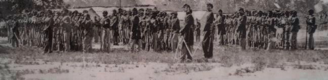 The Law House In Peace and War Marker--close up of the 1st U.S. Colored Infantry photograph image. Click for full size.