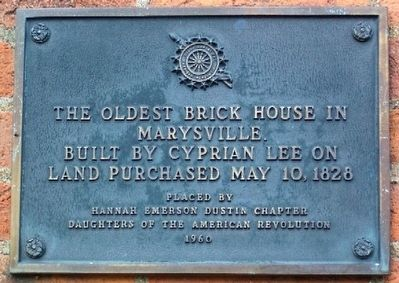The Oldest Brick House in Marysville Marker image. Click for full size.