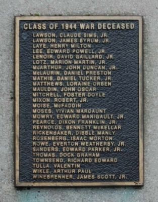 And Then There Was War Marker -<br>Class of 1944 War Deceased (L-W) image. Click for full size.