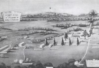 Black and White Rendering of a Watercolor by<br>Mrs J.H. Mitchell Showing Fort Hill Plantation image. Click for full size.
