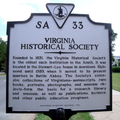Virginia Historical Society Marker image. Click for full size.