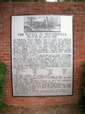 The Battle of Bentonville Marker image. Click for full size.