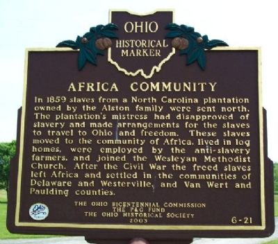 Africa Community Marker (Side B) image. Click for full size.
