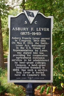 Asbury F. Lever Marker image. Click for full size.