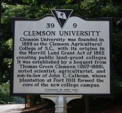 Clemson University Marker - Front image. Click for full size.