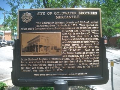 Site of Goldwater Brothers Mercantile Marker image. Click for full size.