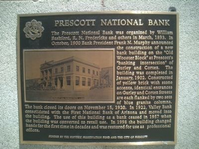 Prescott National Bank Marker image. Click for full size.