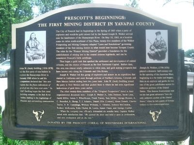 Prescott's Beginnings: The First Mining District in Yavapai County Marker image. Click for full size.