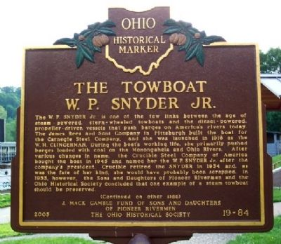 The Towboat W. P. Snyder Jr. Marker (Side A) image. Click for full size.