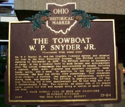 The Towboat W. P. Snyder Jr. Marker (Side B) image. Click for full size.