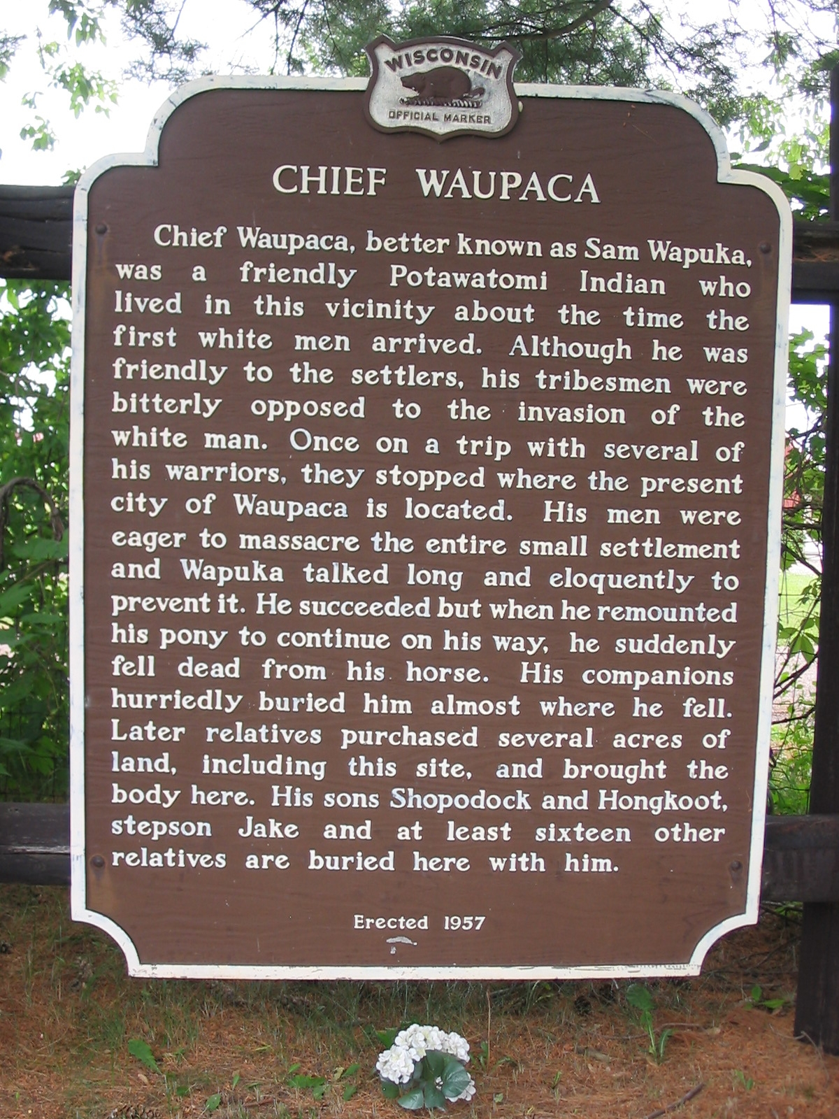 Chief Waupaca Marker