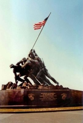Marine Memorial, famous bronze version near Arlington Cemetery. image. Click for full size.