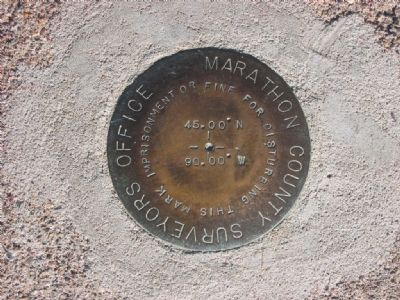 45.00° N 90.00° W Survey Marker Disk image. Click for full size.
