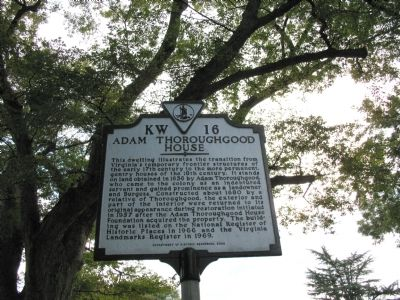 Adam Thoroughgood House Marker image. Click for full size.