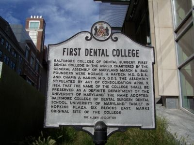 First Dental College Marker image. Click for full size.