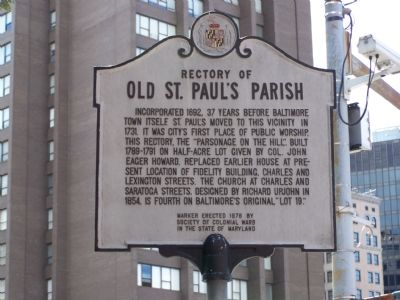 Rectory of Old St. Paul's Parish Marker image. Click for full size.