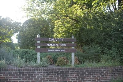 Calvert Memorial Park sign image. Click for full size.
