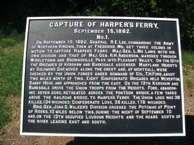 Capture of Harpers Ferry (War Department Tablet No. 1) Marker image. Click for full size.