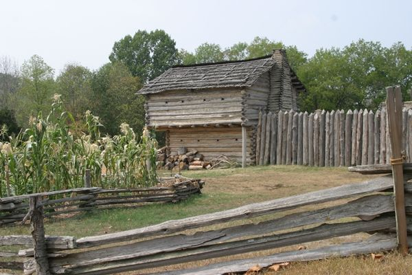 Mansker's Station Historic Site - Fort and Cabin image. Click for full size.