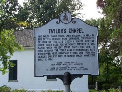 Taylor's Chapel Marker image. Click for full size.