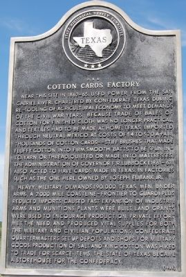 C.S.A. Cotton Cards Factory (Civil War) Marker image. Click for full size.