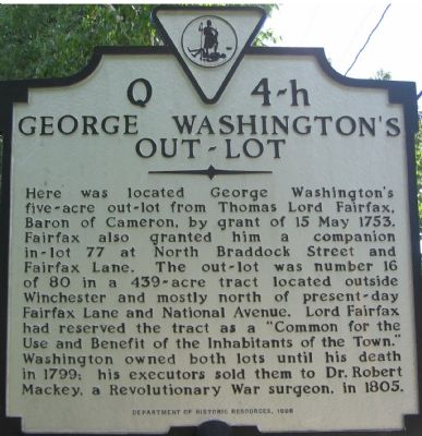 George Washington's Out-Lot Marker image. Click for full size.