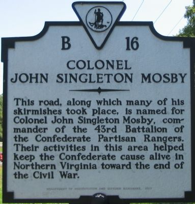 Colonel John Singleton Mosby Marker image. Click for full size.