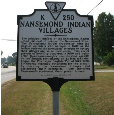 Nansemond Indian Villages Marker image. Click for full size.